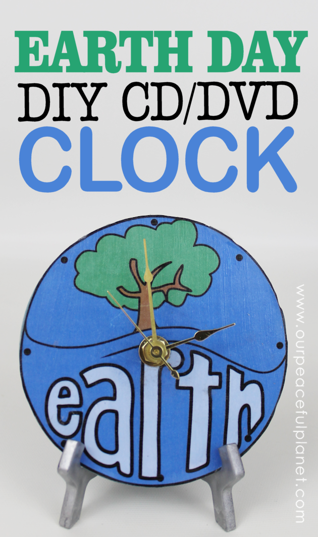Make this awesome world clock for Earth Day or any day! It's made from a CD or DVD and we have free printable original artwork you can download.
