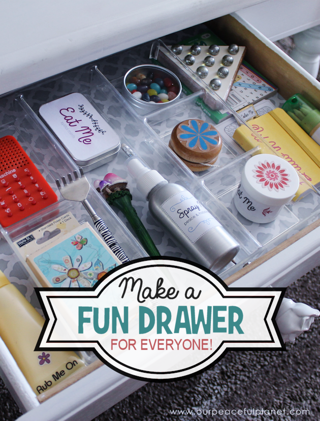 This toy box in a drawer is packed full of fun and creative activities for adults and older kids! Use some of our unique ideas or come up with your own!