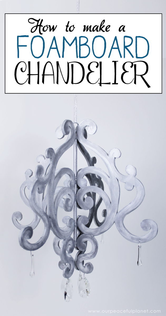 This beautiful diy chandelier is made from $3 foam board. It makes a wonderful accent to any room. Grab our free pattern and add some paint and bling.
