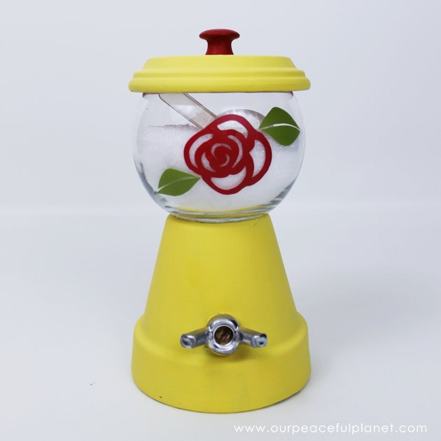 For less than $4 you can make this lovely little sugar bowl. Not only is it inexpensive and simple to create, you can customize to match your own kitchen!