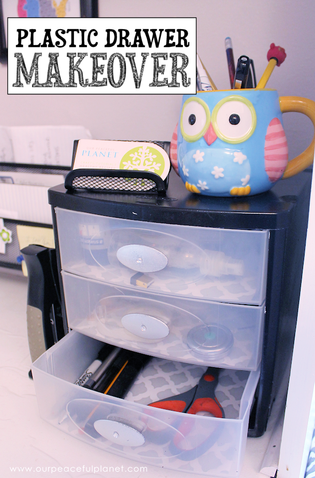 Small plastic drawers for organizing parts can be painted up in all kinds of fun ways for a variety of uses. We added gems to this one for desk top storage.
