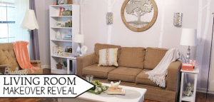 This delightful budget living room makeover features many old items made new! Check out the before and after photos of this unique and fun transformation!