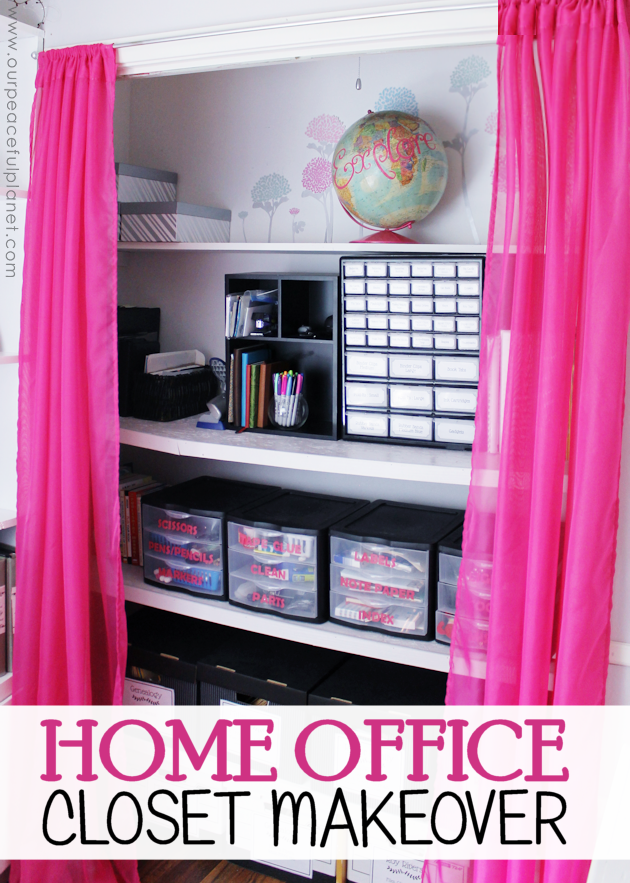 home office closet. We Turned A Messy Home Office Closet Into Beautiful, Fun And Organized Place To