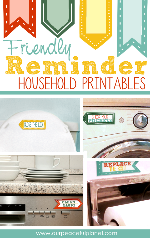 Are you tired of telling family members to turn off the lights, put down the lid or shut the door? Grab our free eye catching printable friendly reminders!