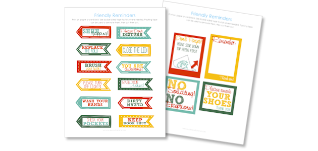 Friendly Reminders Household Printables Download