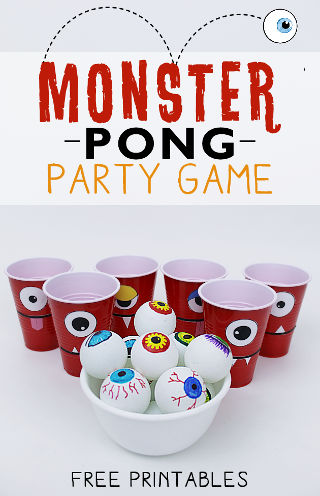 Make a creepy fun monster eye pong party game with plastic cups & ping pong balls. (Beer pong was never this awesome.) Kids & adults alike will love it!