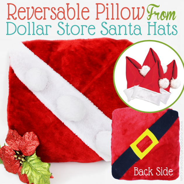 With four Dollar store Santa hats, you can make the cutest reversible Santa pillow ever! Keep it or give them away as neighbor gifts! Free fun printable tags.