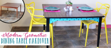 Before & After Modern Geometric Painted Dining Table
