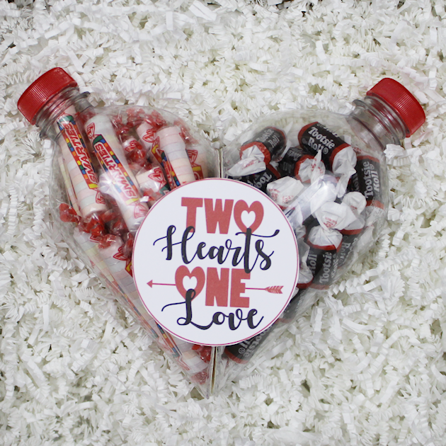 Looking for unique Valentines crafts? Here's one we bet you've never seen before. It's a two halves of one heart gift container made from a soda bottle!