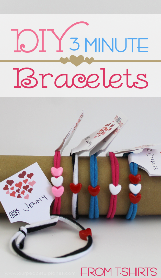 You got 3 minutes? Got an old t-shirt? Add in heart shaped pony beads and now you've got 3 minute DIY bracelets! Great for Valentine's Day! (Free tags.)