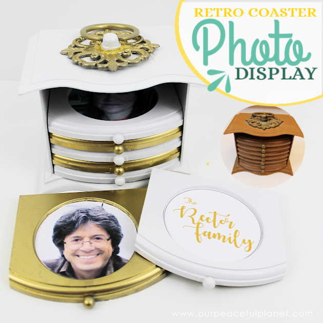 These retro coaster sets found in many thrift stores make a beautiful photo upcycling project with some paint glue and personal pictures!