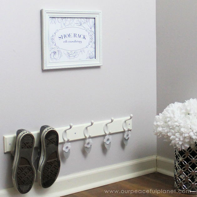 Make a quick entryway shoe rack with aromatherapy and keep your shoes neat and smelling nice. Plus frame one of our lovely printable reminders!