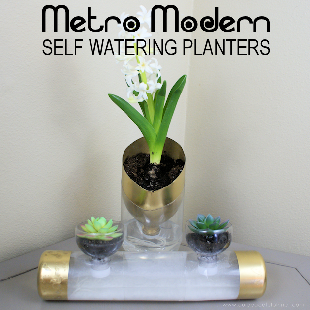 metro modern self watering planters from soda bottles. Black Bedroom Furniture Sets. Home Design Ideas