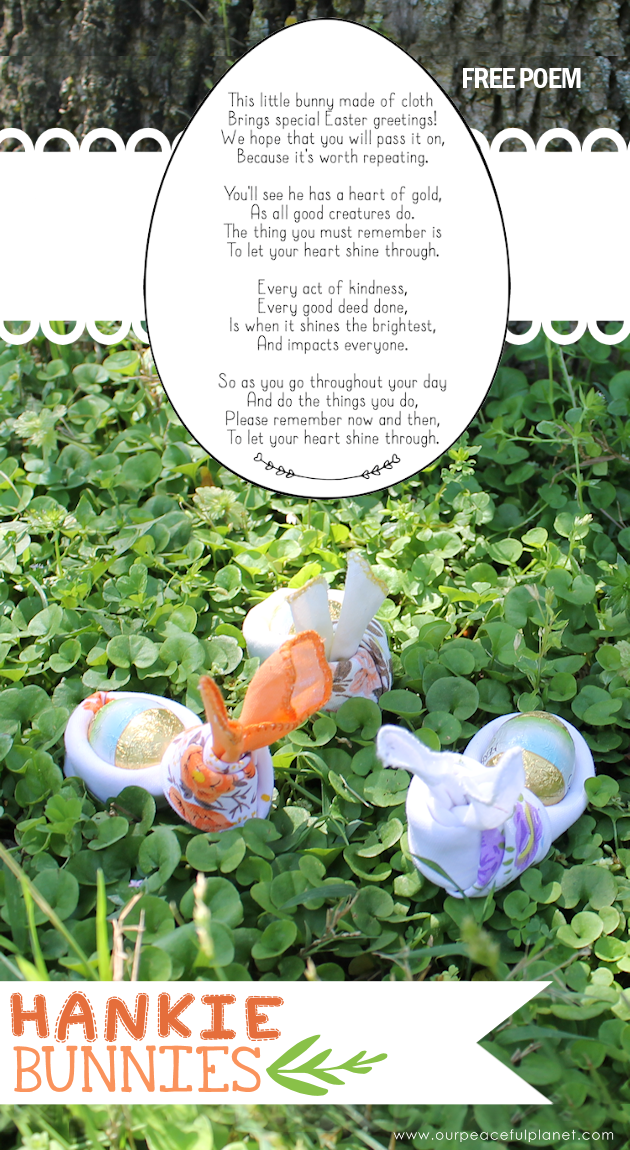 Give your friends a special Easter greetings bunny and beautiful poem made from a simple folded handkerchief or piece of cloth and filled with a golden egg.