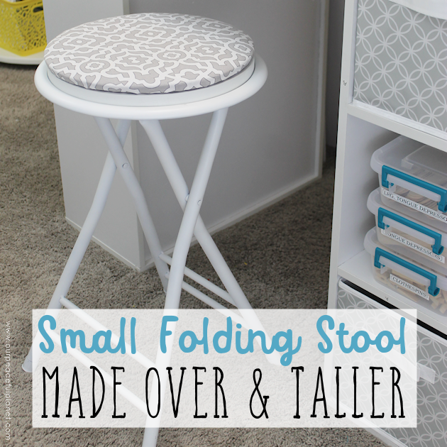 This cheap folding stool from Amazon was for my craft room. It just needed a little love. i.e. paint and material plus a wood circle to make it tad higher. I also added the feature of making the fabric top removable in case I want to change the color at some point.