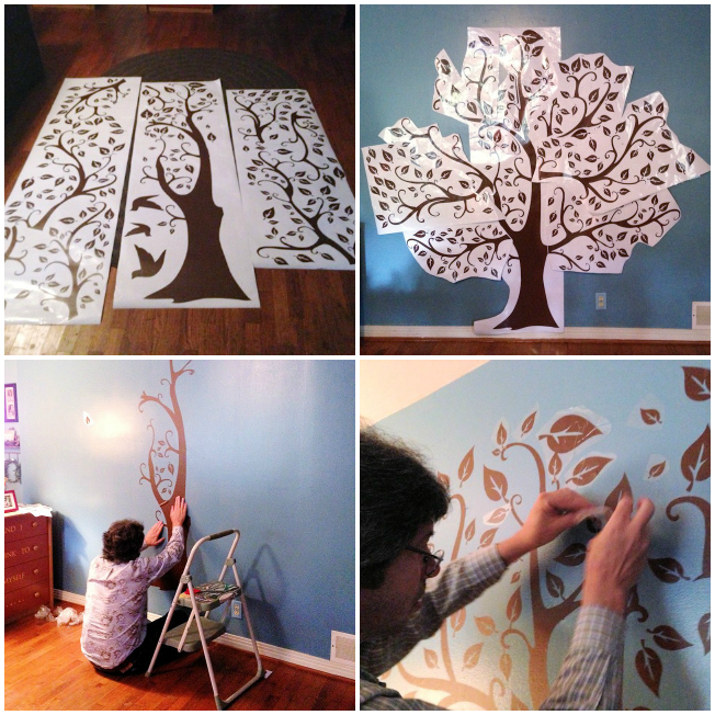 Whimsical Living Room Tree Collage