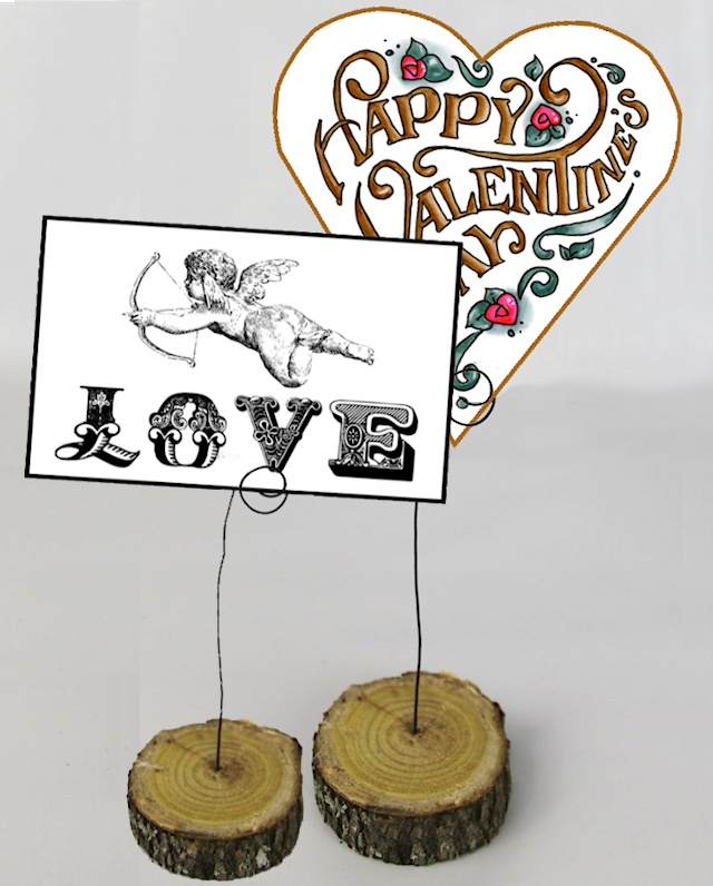 Wood Slice Photo Valentine and Note Stand.11