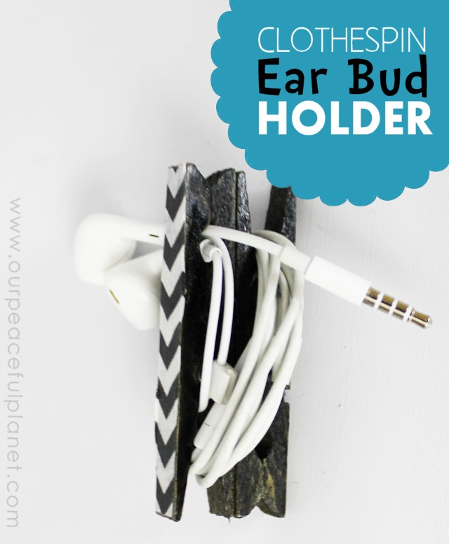 Everyone hates tangled earbuds! Here's a quick and simple way to make earbud holders using two clothespins. Customize them any color you like! A great gift!