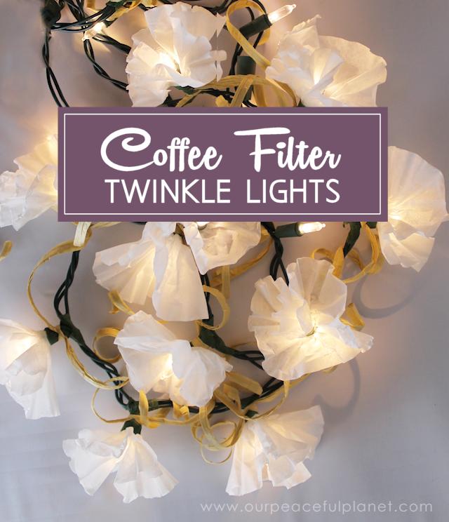 Coffee Filter Twinkle Light Flowers ·