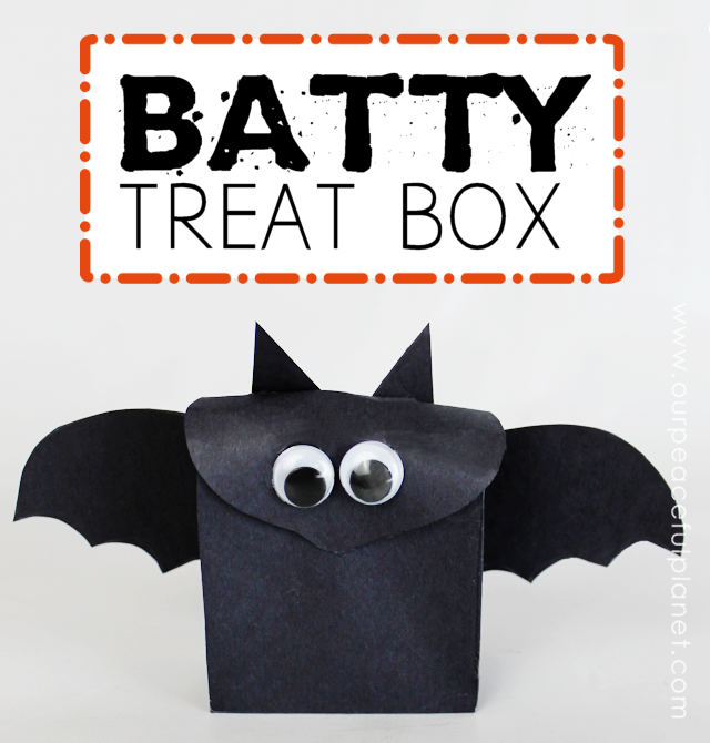 Make this super easy Halloween craft! It's a batty treat box! Just download our free template, cut it out, glue it together and add some wiggle eyes!