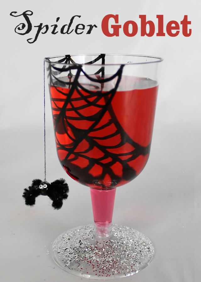 We've got Halloween party ideas for adults and kids alike! Make these from inexpensive plastic wine glasses, a marker and some glitter. Add a bead and a pipe cleaner and you've got a spooky spider goblet!