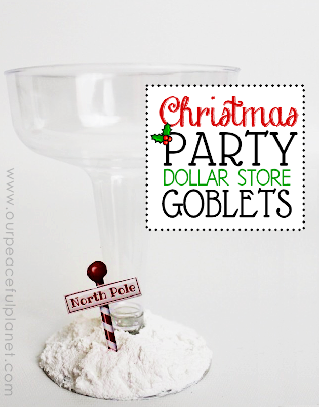 Looking for unique Christmas party ideas? Make these beautiful inexpensive holiday goblets from Dollar store plasticware!  Usable for drinking or decor.