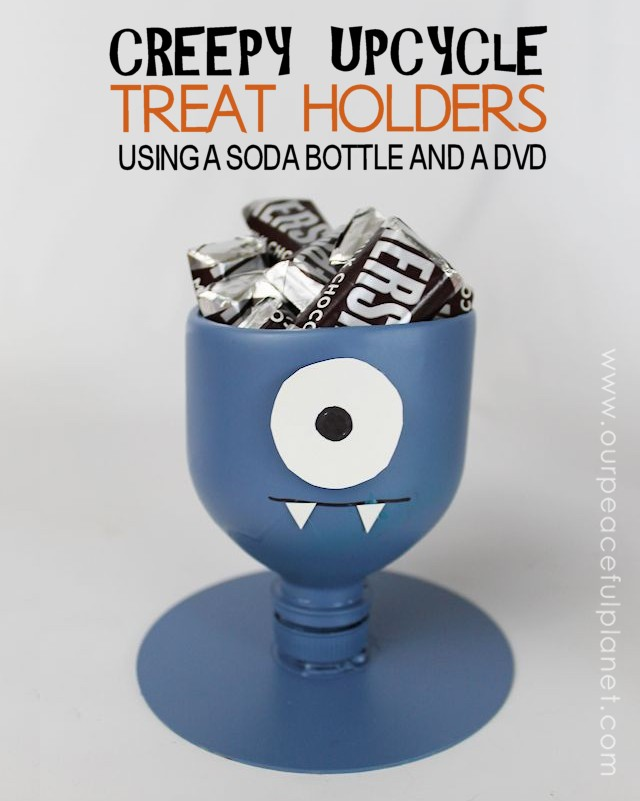Make these fun halloween craft treat holders from plastic soda bottles! It's a wonderfully easy upcycle project for all ages. Invent your own creatures!