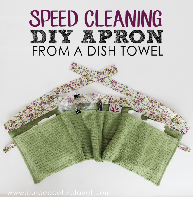 Speed clean like the pros using this little pocket apron.  We'll show you how to whip one up using a kitchen towel. The trick to helping your basic cleaning go faster is in how you use the pockets in the apron. Fill them right and you'll start knocking time off your cleaning schedule. Grab our FREE PRINTABLE PATTERN!