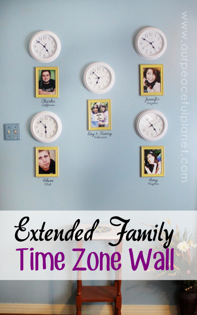 Do you have kids who have moved away or other extended family members that you're close too? Create a time zone clock wall complete with photos to keep them in your mind and hearts all day long! It's the next best thing to being there! Well, not really but it's still pretty cool.