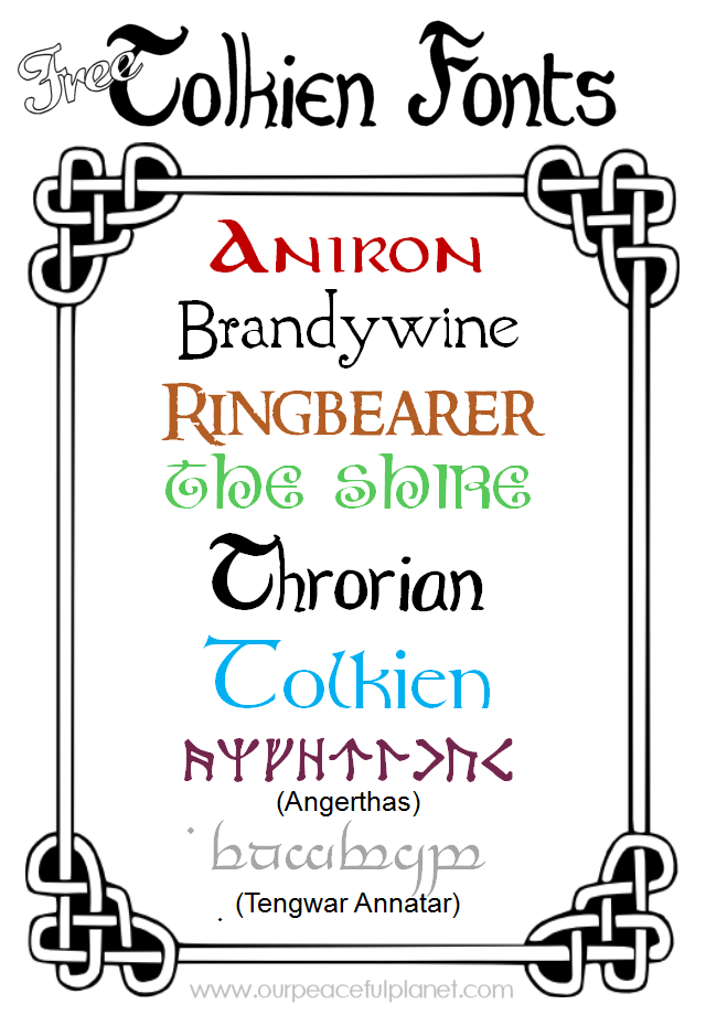 We've got some free Tolkien fonts for you to download in honor of Hobbit Day and Tolkien Week! You can also write you name in rune or Elvish!