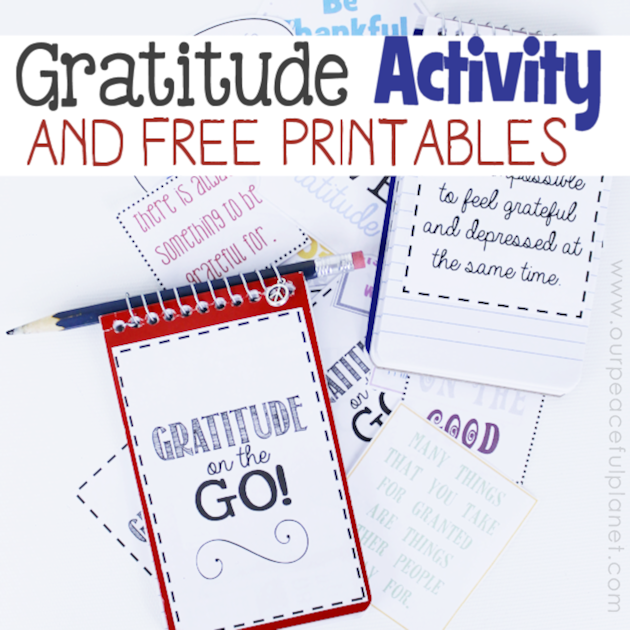 For a fun unique gratitude activity for any age, grab a tiny spiral memo pad, our free printouts and make a Gratitude on the Go book. Instructions included!