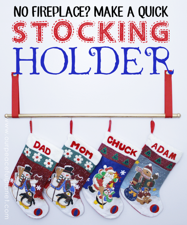 No fireplace to hang your Christmas stockings? We'll show you how to make a simple and easy stocking holder from a dowel, some cup hooks, ribbon and paint!