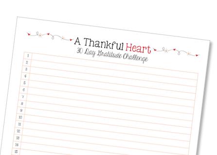 Thankful Heart 30 Day Gratitude Challenge