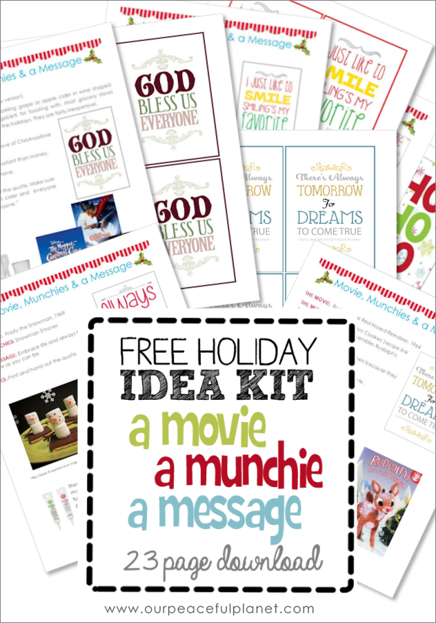 "Need ideas for Christmas Eve Traditions? We've got 11 fun ones! Download our free 23 page booklet ""A Movie, a Munchie and a Message."" Comes with cute quotes."