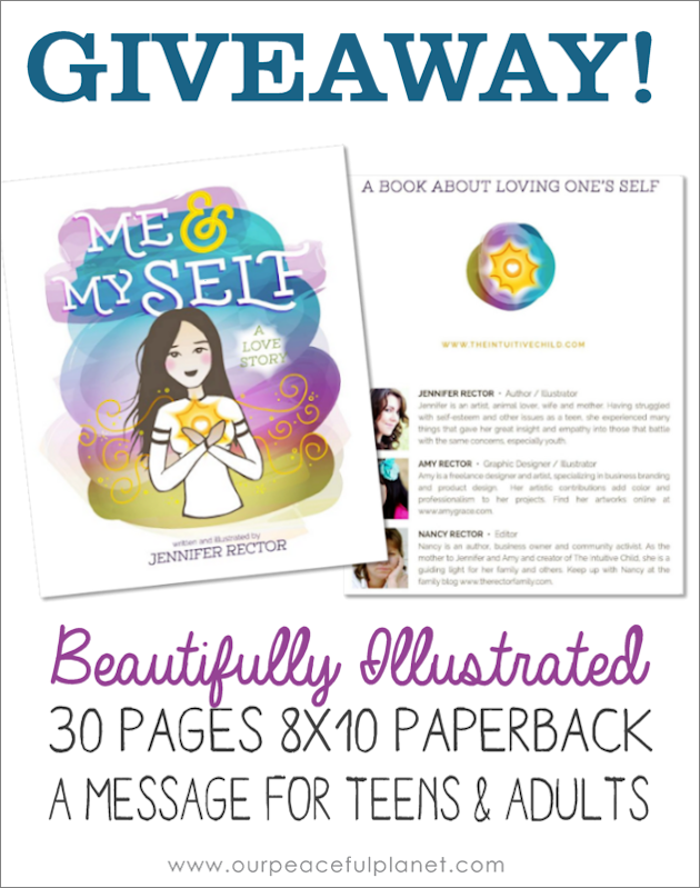 "Enter our free giveaway to win the beautifully illustrated 8x10 book for teens and adults ""Me & Myself a Love Story"". Carries the message about the importance of loving oneself."