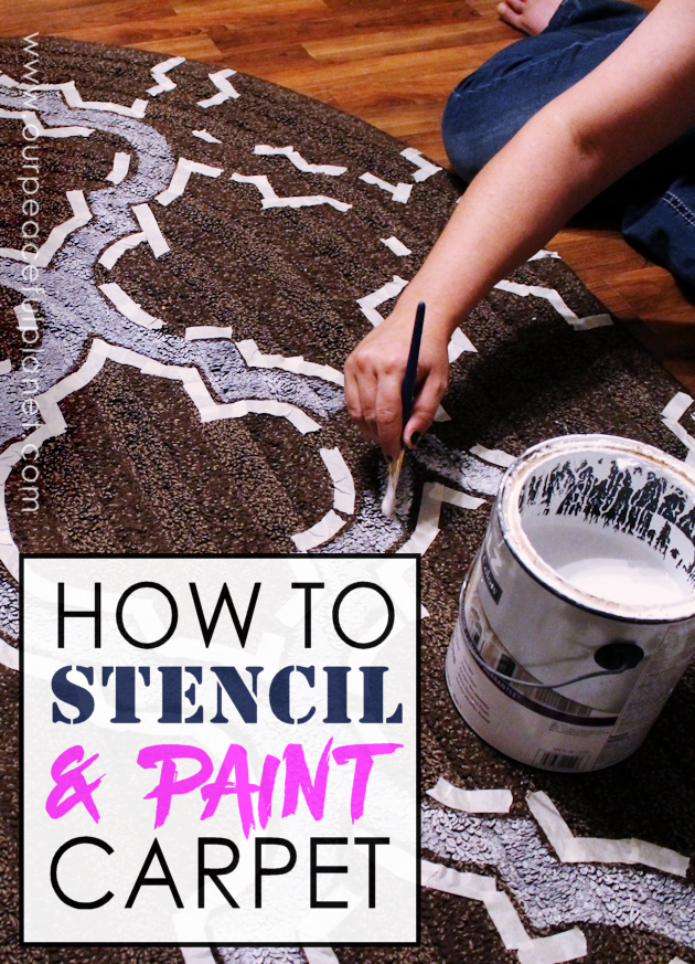 Yes, even carpets can get a makeover! Whether it's a larger area rug or a throw rug, you can paint carpet using a stencil and regular interior latex paint.