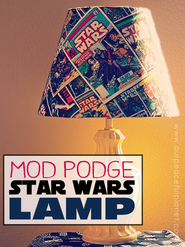 This trendy Star Wars lamp is easy to make and costs very little. All you need is an old lamp, spray paint, Mod Podge and some Star Wars material.