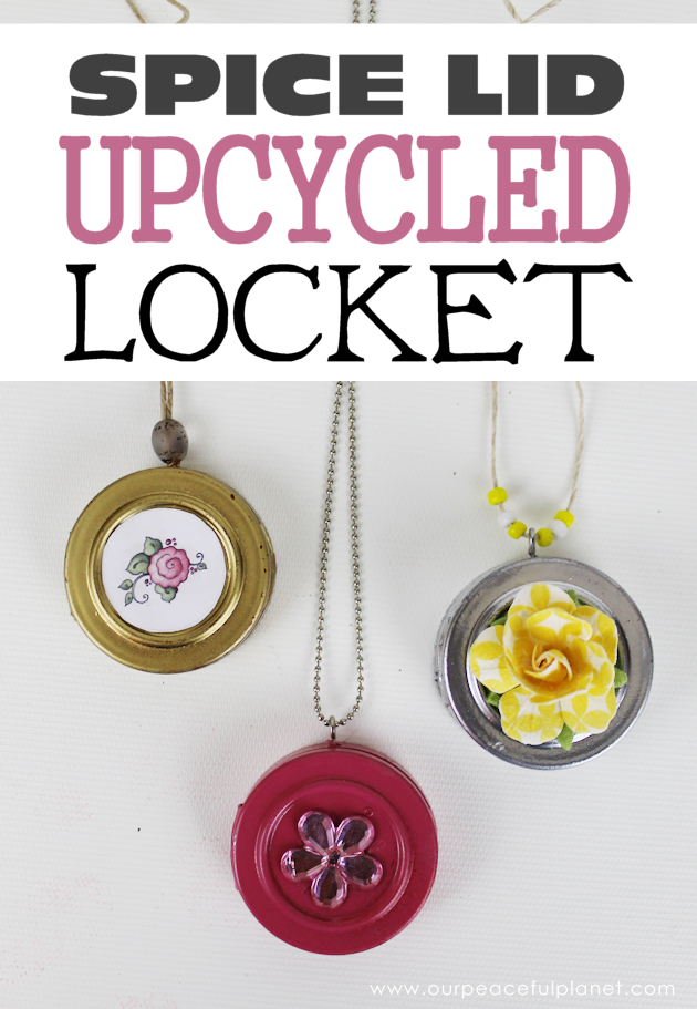 This cute upcycled locket necklace will put a grin on anyone's face and makes a wonderful gift for moms, grandmas or anyone who loves quirky jewelry.
