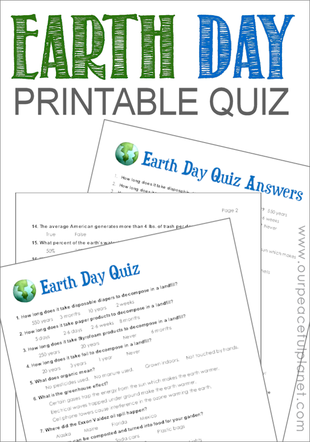 image relating to Printable Quizzes for Fun identify Planet Working day Quiz (No cost Printable)