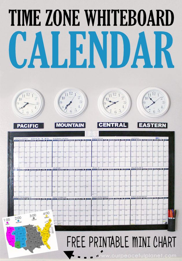 A whiteboard calendar can be a wonderful asset for a business or family scheduling. Learn how to make your own with time zone clocks above it!
