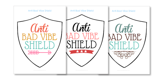 Surround yourself in good energy with our anti bad vibe shield! Hang anywhere to keep the negativity away! Multiple downloads for different color schemes.