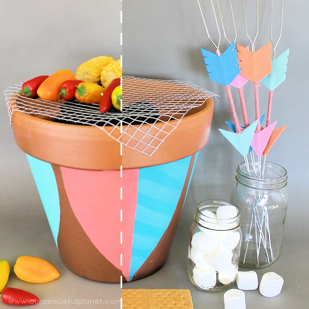 Make your summer sensational with this stunning DIY portable grill and skewer set! An inexpensive whimsical addition to your backyard barbecue.