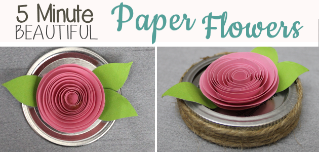 Make these beautiful DIY paper flowers in 5 minutes or less! Use them in your crafts or decorating. Attach them to a lamp shade. Even use them in your hair!