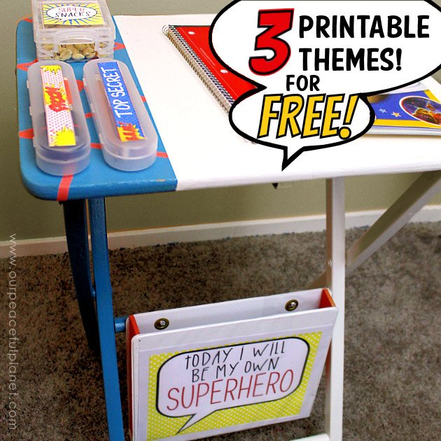 This portable desk makes the perfect homework helper & your kids will look forward to doing it! We've got three printable themes you can choose to inspire!