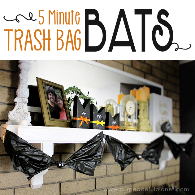 Need quick, low cost awesome looking Halloween decorations? Go to your cupboard, grab some black plastic trash bags & make a large creepy bat in 5 minutes!
