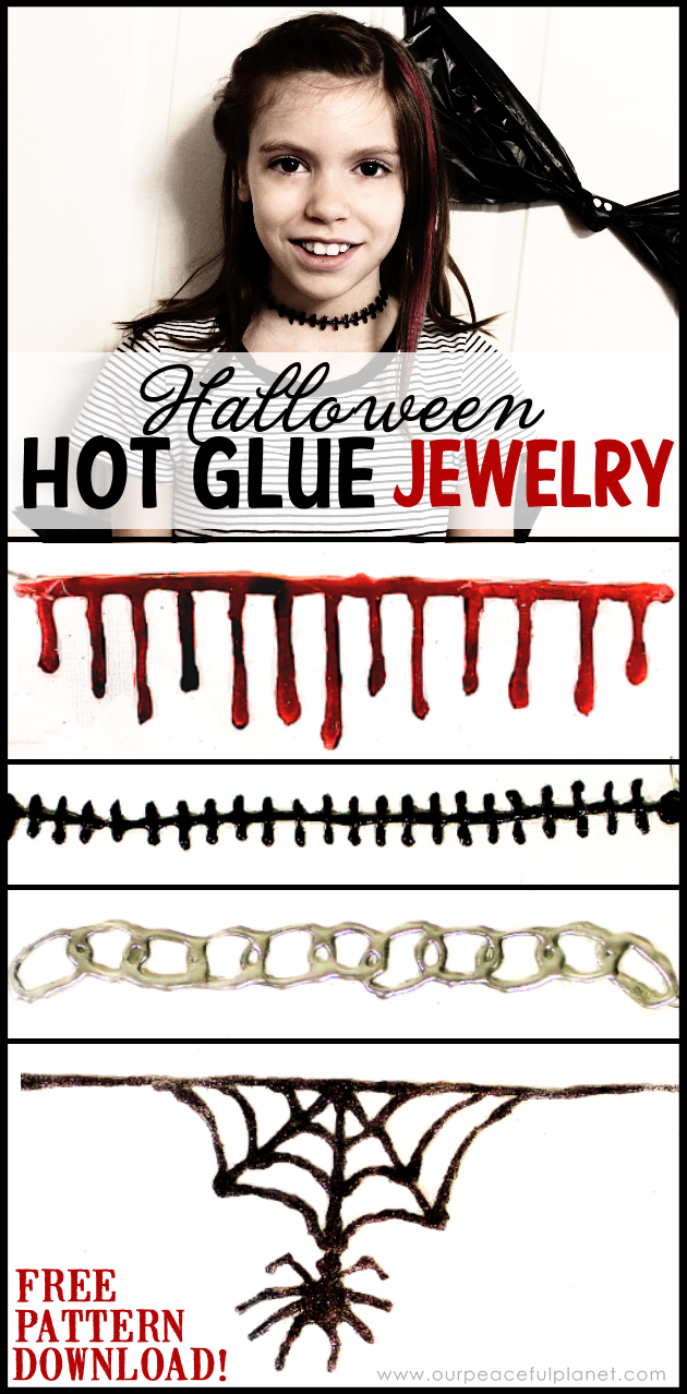 Makes this fun and creepy Gothic jewelry using hot glue! Grab our free printable patterns or come up with your own. Great for kids, adults and Halloween!