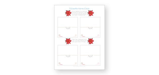 photo regarding Free Printable Christmas Place Cards titled Cost-free Poinsettia Printable Xmas Placecards