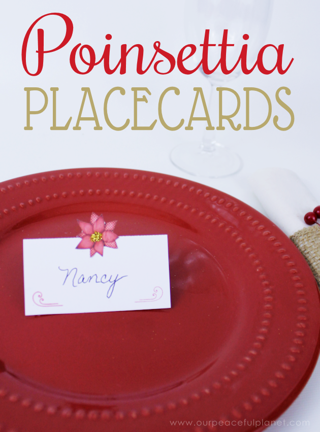 image regarding Free Printable Christmas Place Cards known as No cost Poinsettia Printable Xmas Placecards