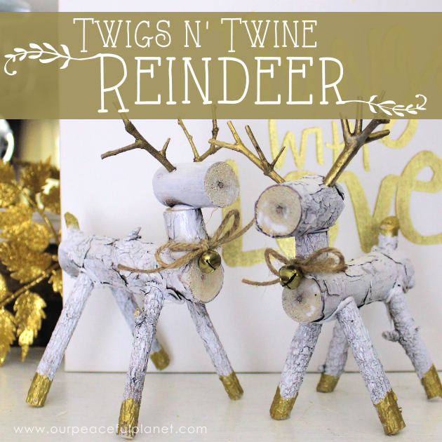 These festive little wooden reindeer are a mix of modern and rustic style and only require some tiny branches off your tree. Add twine and a bell and they're complete!