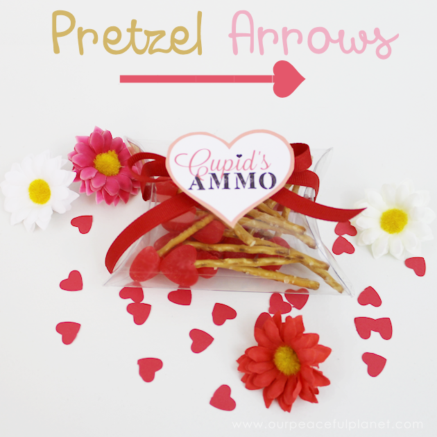 These tiny pretzel arrows take seconds to make. Use our pillow box tutorial and attach one of our cute free tags and you've got the perfect Valentine gift!